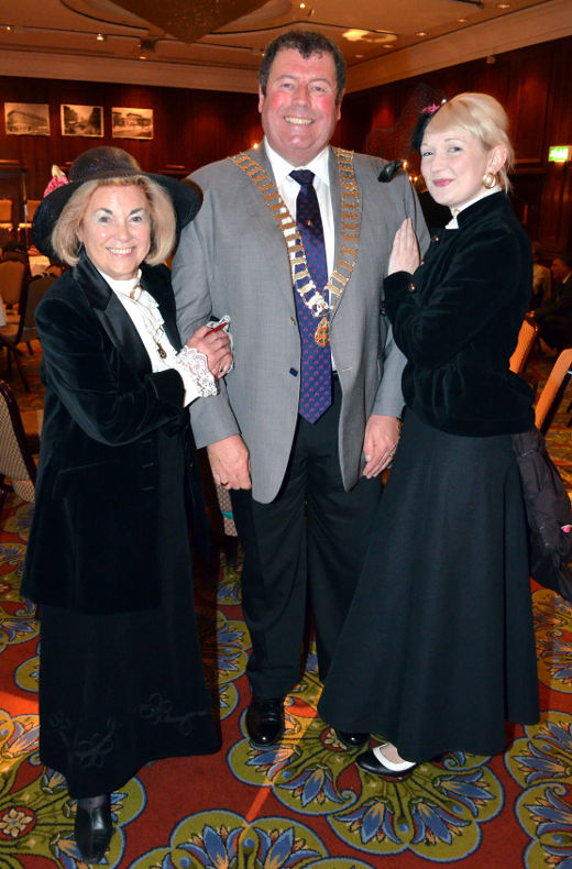 DG Barney with Hilary and Laura